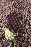 Chocolate oscuro en un fondo de los granos de cacao Imagen de archivo