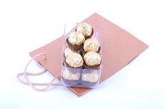 Chocolate package with shopping bag Royalty Free Stock Image