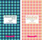 Chocolate packaging design. Colorful tartan pattern. Royalty Free Stock Photos
