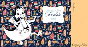 Chocolate packaging design. Happy dragon on background of winter town Royalty Free Stock Photos