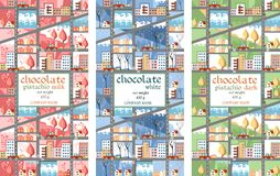 Chocolate packaging designs with cute town Stock Photo