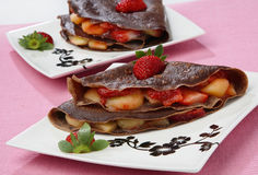 Chocolate pancake with fruit Royalty Free Stock Images
