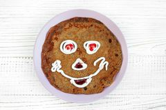 Chocolate pancake for kid. Breakfast. The concept of food and ve. Getarian Royalty Free Stock Photo