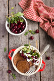 Chocolate pancake with sour cream and sweet cherry for breakfast or pancake day Royalty Free Stock Image