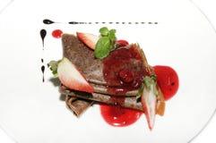 Chocolate pancakes Stock Images