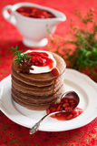 Chocolate pancakes Royalty Free Stock Photography