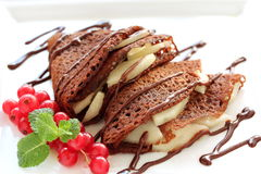 Chocolate pancakes. Royalty Free Stock Images