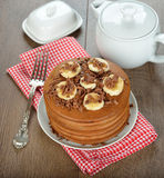 Chocolate pancakes with bananas Stock Images
