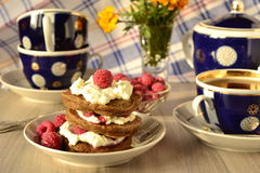 Chocolate pancakes with cottage cheese, raspberries and tea Stock Image