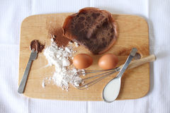 Chocolate pancakes crepes with ingredients. Royalty Free Stock Image