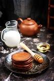 Chocolate pancakes Royalty Free Stock Photos