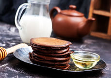Chocolate pancakes Royalty Free Stock Photography