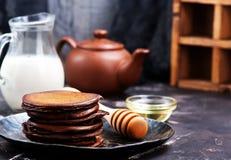 Chocolate pancakes Stock Photos