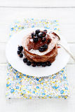 Chocolate pancakes with summer berries Stock Photos