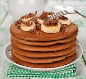Chocolate pancakes Royalty Free Stock Images