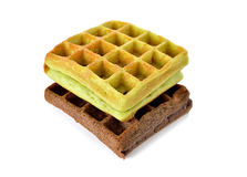 Chocolate and pandan leaves flavor waffle with raisin on white Royalty Free Stock Photo