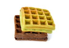 Chocolate and pandan leaves flavor waffle with raisin on white Stock Photo