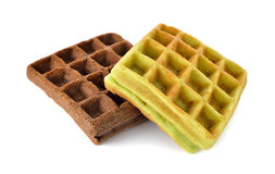 Chocolate and pandan leaves flavor waffle with raisin on white Stock Photos