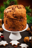 Chocolate panettone cake for Christmas Royalty Free Stock Photography