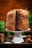Chocolate panettone cake for Christmas Stock Photos