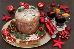 Chocolate Panettone Christmas Cake stock photo