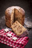 Panettone is the traditional Italian dessert for Christmas. Panettone cut royalty free stock image
