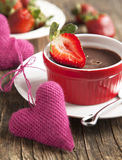 Chocolate Panna cotta with strawberry. Royalty Free Stock Photos