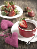 Chocolate Panna cotta with strawberry. Royalty Free Stock Photography