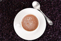 Chocolate para cocer, confitería, decoración con la taza de Cappuccin Fotografía de archivo libre de regalías
