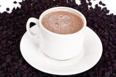 Chocolate para cocer, confitería, decoración con la taza de Cappuccin Fotografía de archivo