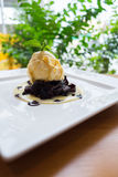 Chocolate pasta with Vanilla ice cream and whipped cream Royalty Free Stock Photography