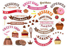 Chocolate pastries and desserts design elements Stock Photography