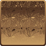 Chocolate Pattern. Flowers on a cute chocolate background. Vector illustration Stock Photo