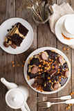 Chocolate peanut butter cake with frosting Stock Photo