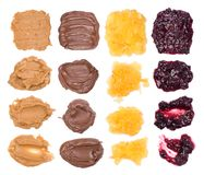 Chocolate, peanut butter and jelly on white background Royalty Free Stock Images