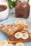 Chocolate and peanut buttered toasts Stock Image