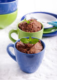 Chocolate and peanut microwave cakes Stock Photography
