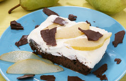 Chocolate pear cake Stock Photos