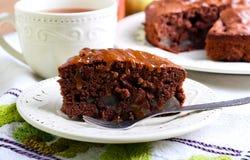 Chocolate pear cake Stock Photos