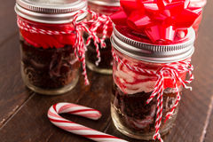 Chocolate Peppermint Cupcakes in a Jar Stock Photography