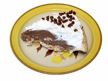 Chocolate pie. Closeup of chocolate pie and saucer Stock Images