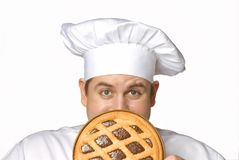 Chocolate pie chef. Royalty Free Stock Images