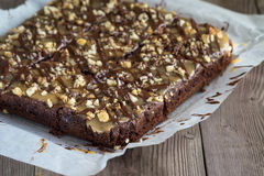 Chocolate pie with nuts Stock Image