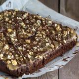 Chocolate pie with nuts Stock Photos