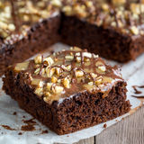 Chocolate pie with nuts Royalty Free Stock Photos