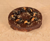 Chocolate pie with nuts Stock Photo