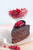 Chocolate pie with red current on white background Royalty Free Stock Image
