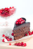 Chocolate pie with red current on white background Royalty Free Stock Images
