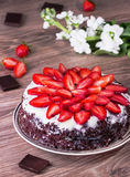 Chocolate pie with strawberry Royalty Free Stock Image