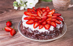 Chocolate pie with strawberry Royalty Free Stock Photography